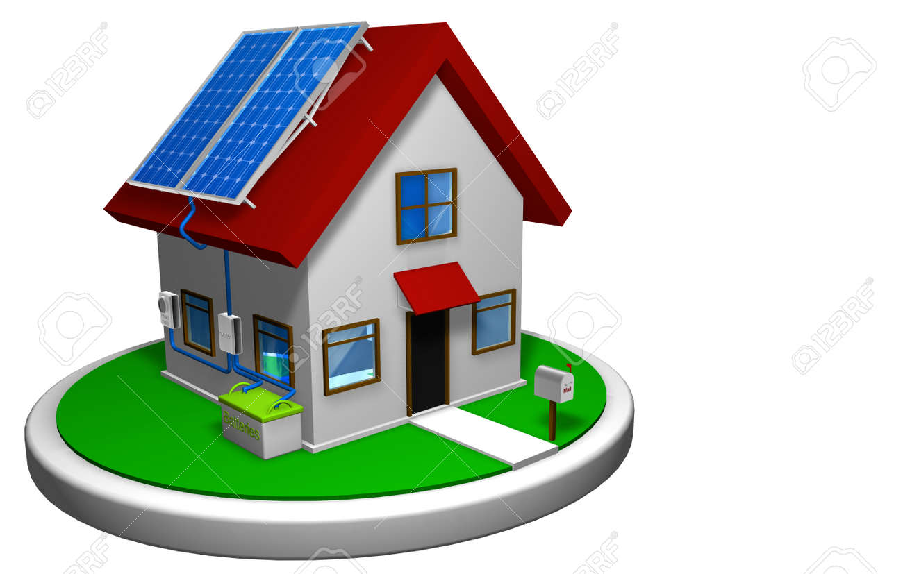 3D Model Of A Small House With Solar Energy System Installed 4
