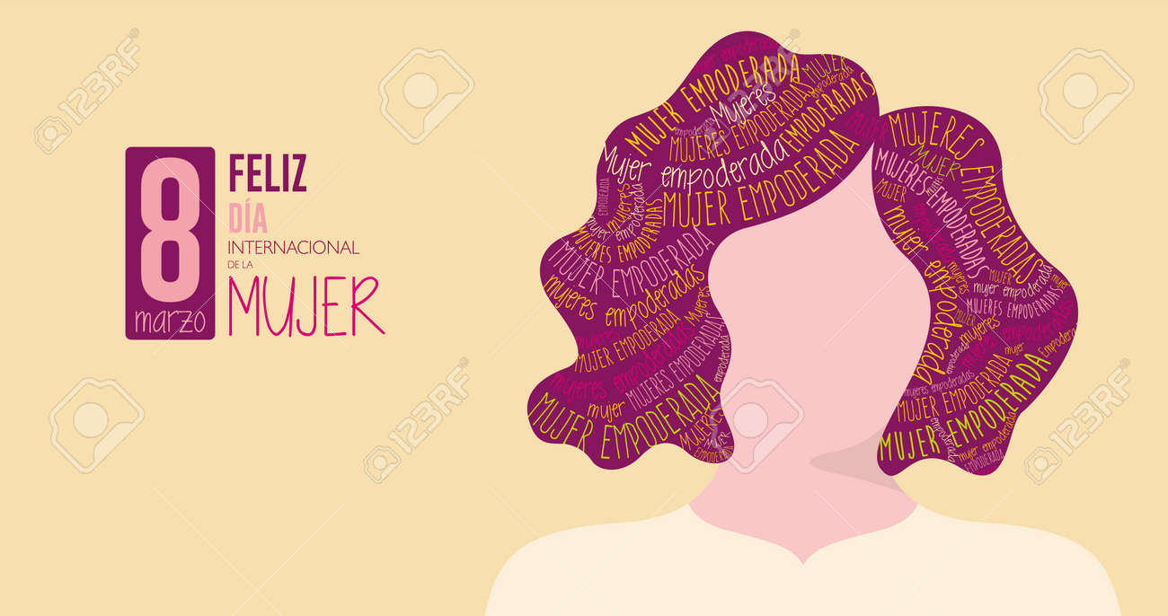 Greeting Card FELIZ DIA INTERNATIONAL DE LA MUJER - HAPPY INTERNATIONAL WOMEN S DAY in Spanish language Silhouette of woman with purple hair filled with the words EMPOWERED WOMAN on yellow background - 164531568