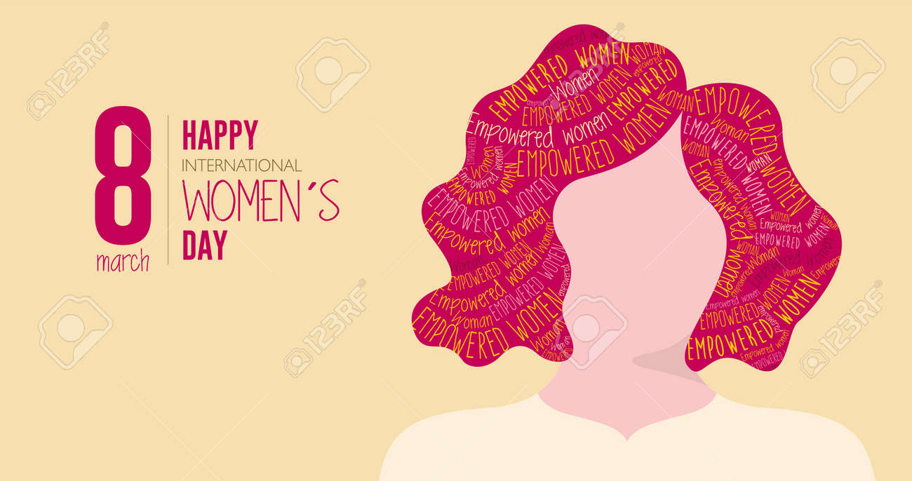 Greeting Card of HAPPY INTERNATIONAL WOMEN S DAY. Silhouette of woman with red hair filled with the words EMPOWERED WOMAN on yellow background. Vector image - 164532099