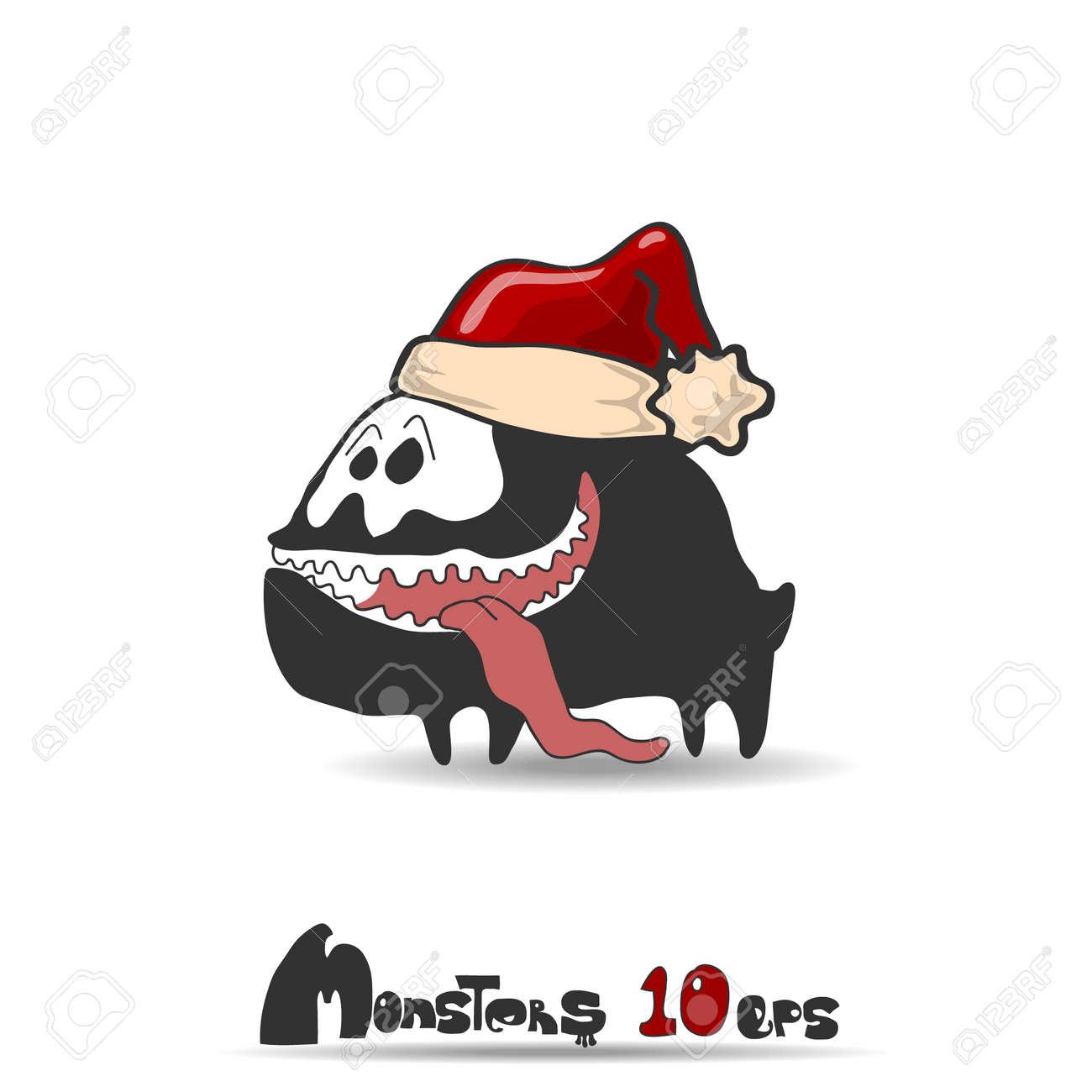 Black monster dog  Christmas theme  Vector illustration 10 eps Stock Vector - 20744434