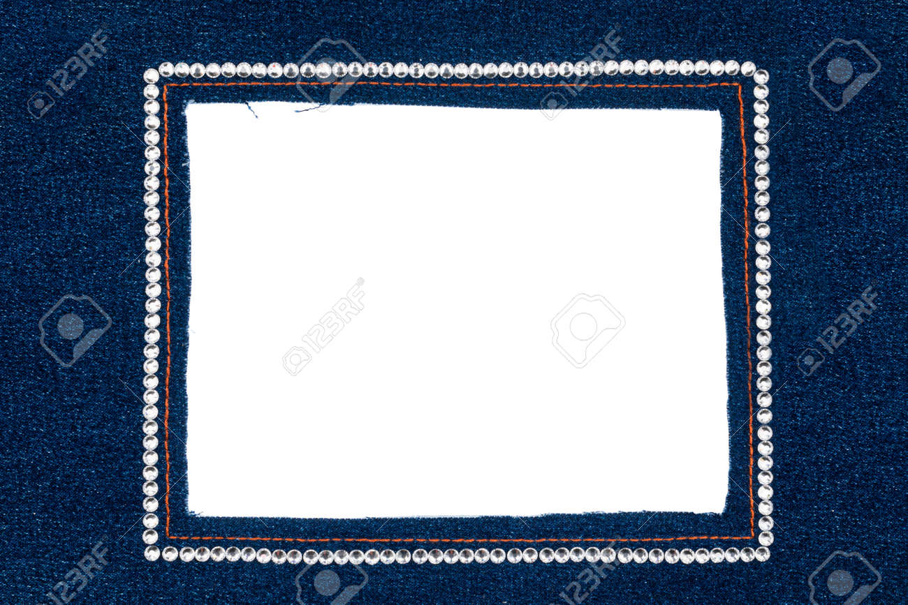 Marco De Mezclilla Con Jeans Oscuros Con Diamantes De Imitación De ...