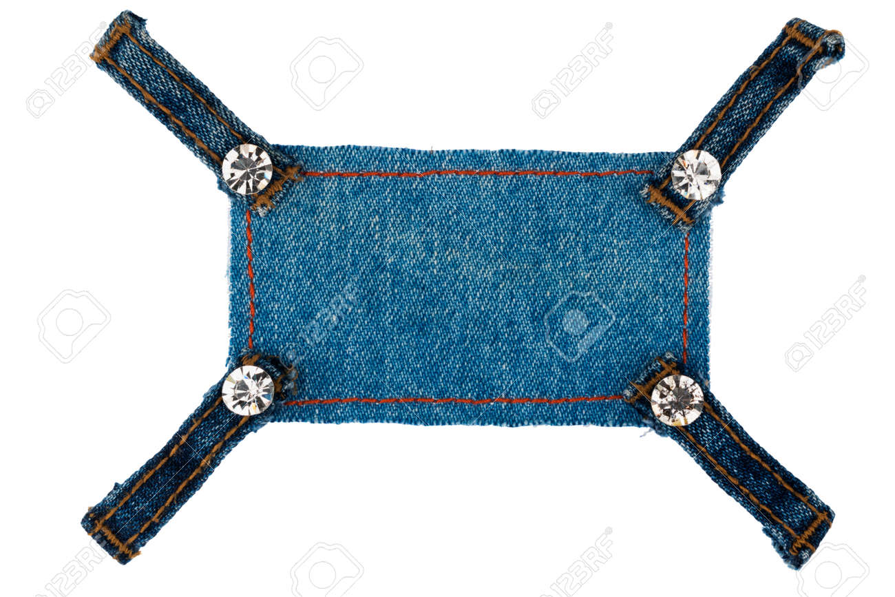 Rahmen Mit Vier Riemen Jeans Und Strass, Liegt Auf Der Dunklen Jeans ...