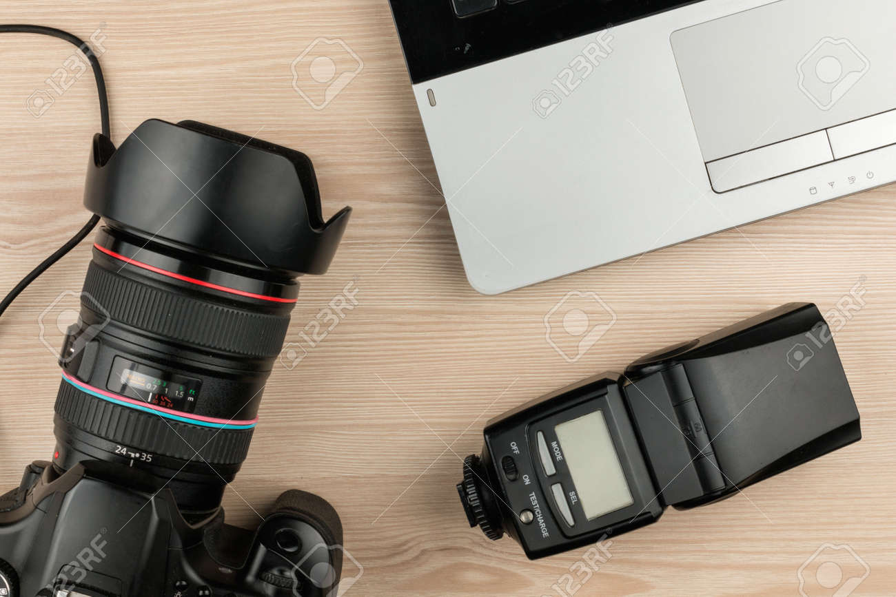 Working Table Photographer Top View Wooden Surface With Laptop Stock Photo Picture And Royalty Free Image Image 69326451