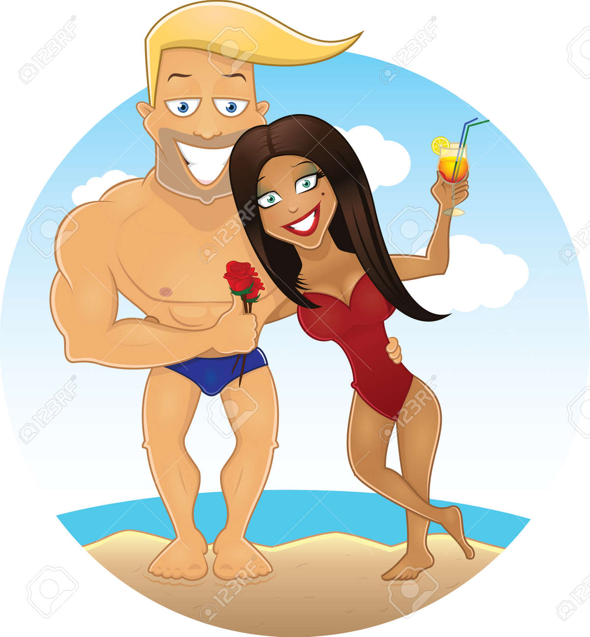 vector cartoon sexy guy and girl on the beach royalty free cliparts