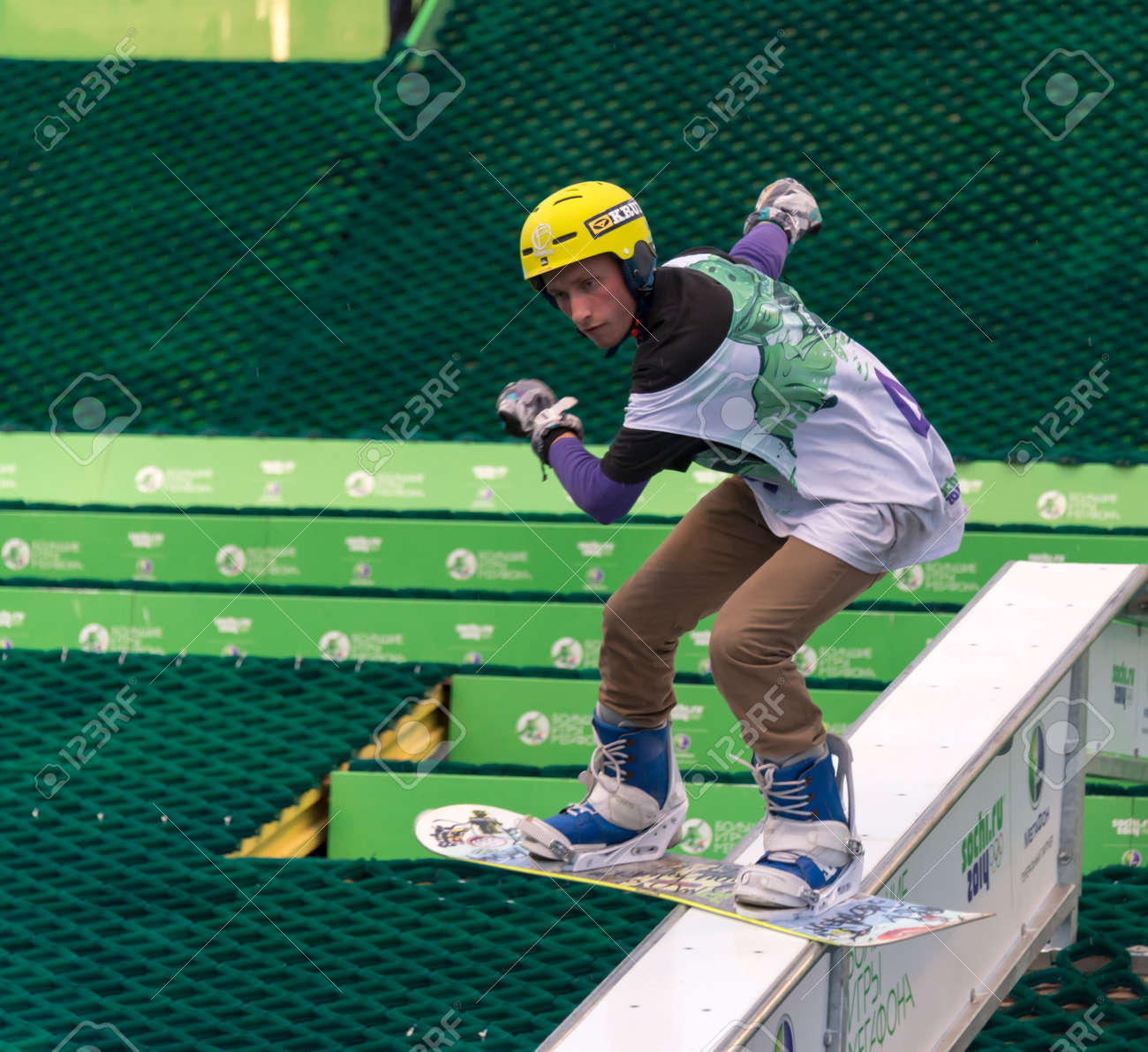 Rostov-on-Don, Russia, September 26, 2013 - The athlete jumps on a snowboard on a holiday company Megafon September 14, 2013 in Rostov-on-Don Stock Photo - 22202489