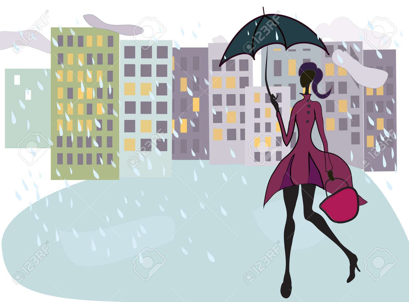 Beautiful Girl Walking in the Rain with Umbrella After Shopping Stock Vector - 19246717