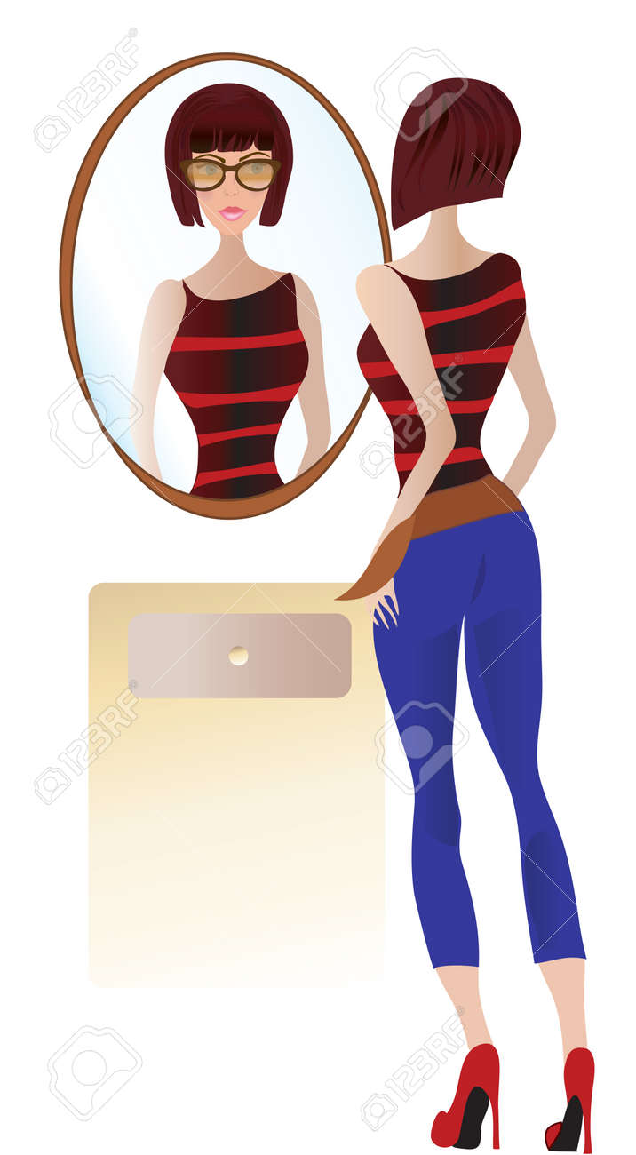 Young Woman Looking at the Mirror Stock Vector - 21044889