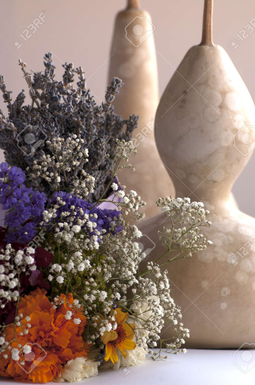 Still Life Composition Lavender Dry Flower Bouquet And Pumpkin Stock Photo Picture And Royalty Free Image Image 21044892