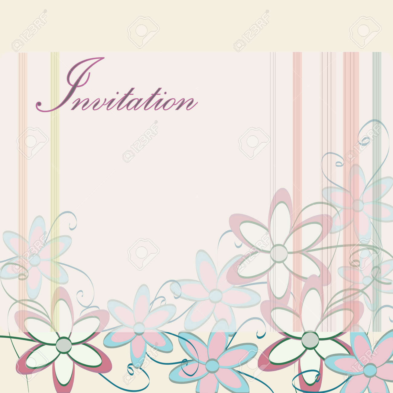 Wedding Invitation Template Party Card Design With Flowers And ...