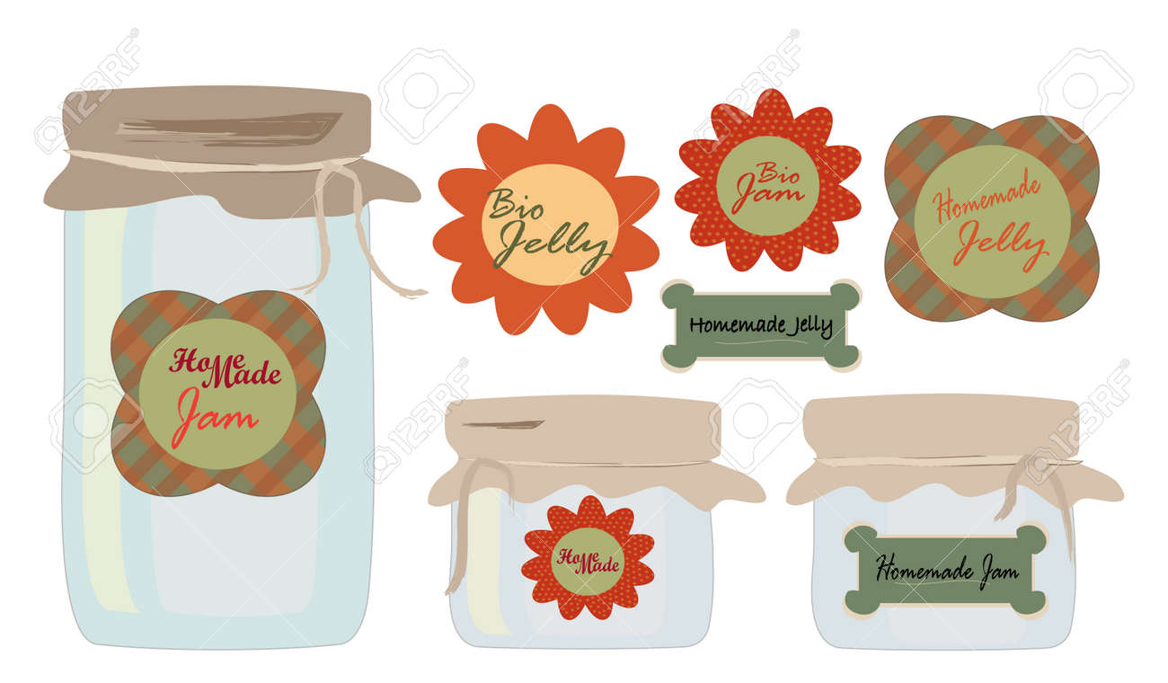 Labels Set Collection of labels with Jars of Jelly and Jam Homemade and Bio Concept Stock