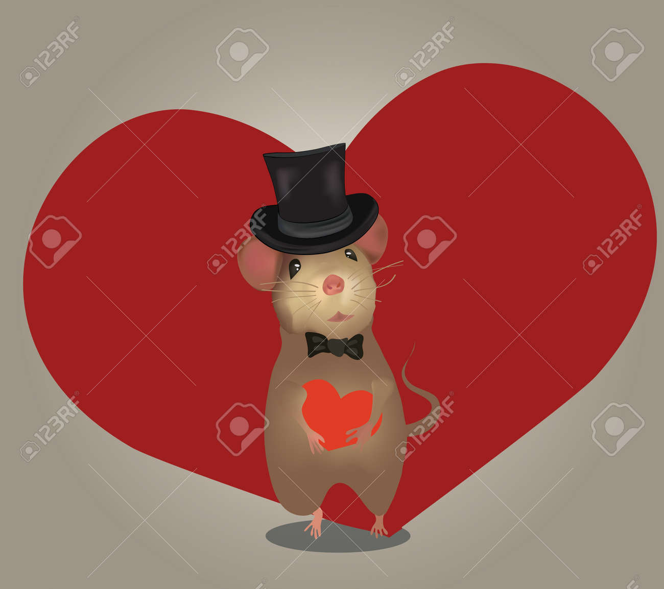 Love Card or Wedding Invitation  Greeting card with  mouse and heart  Valentine s Day Stock Vector - 24911789