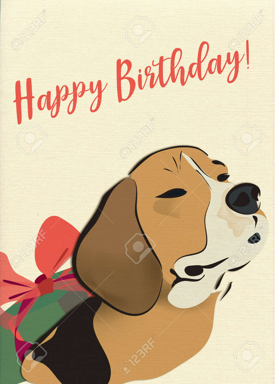 Happy Birthday Greeting Card With Beagle Dog And Present Stock Photo