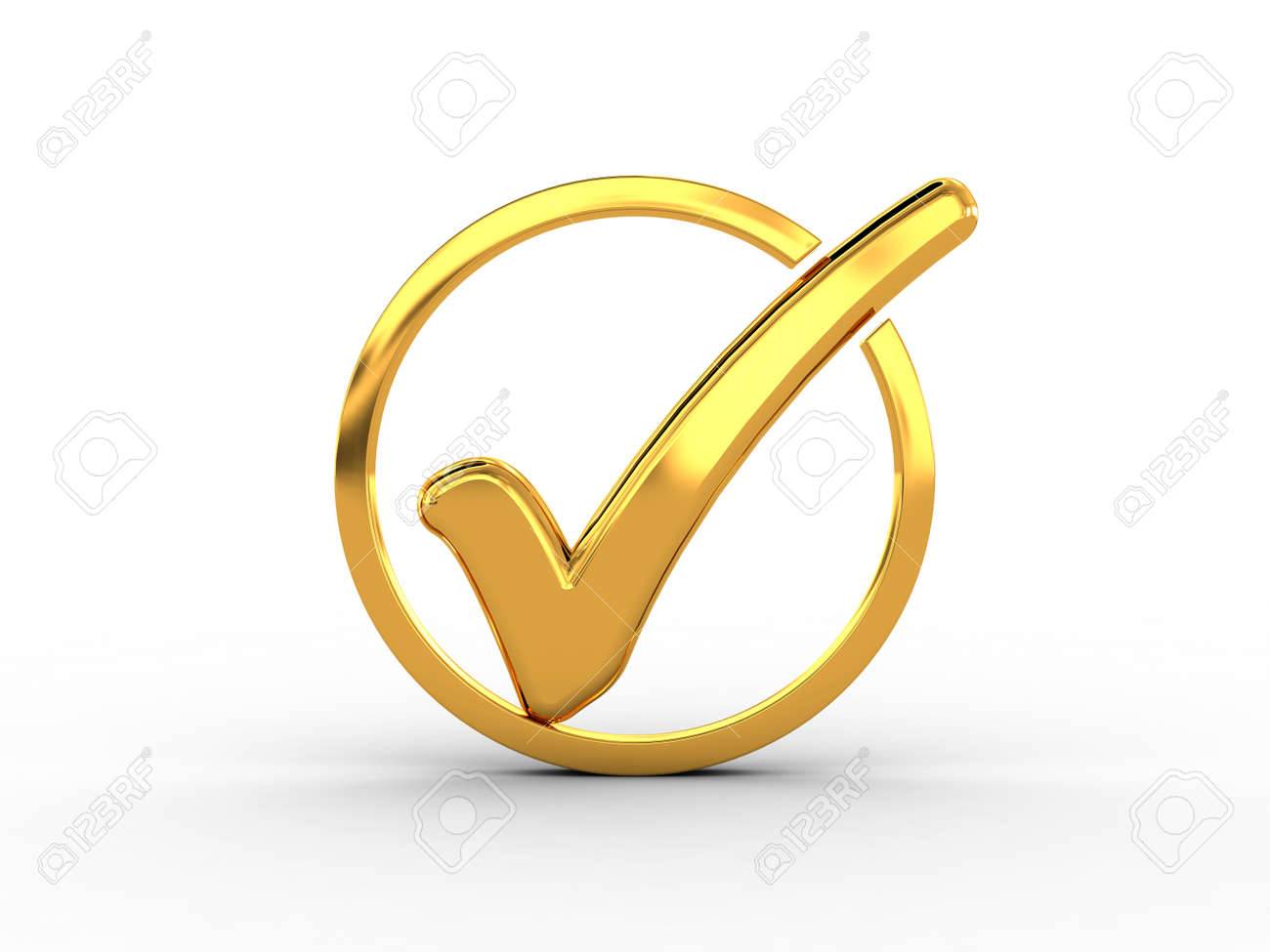 Golden ring with check mark Stock Photo - 18511494