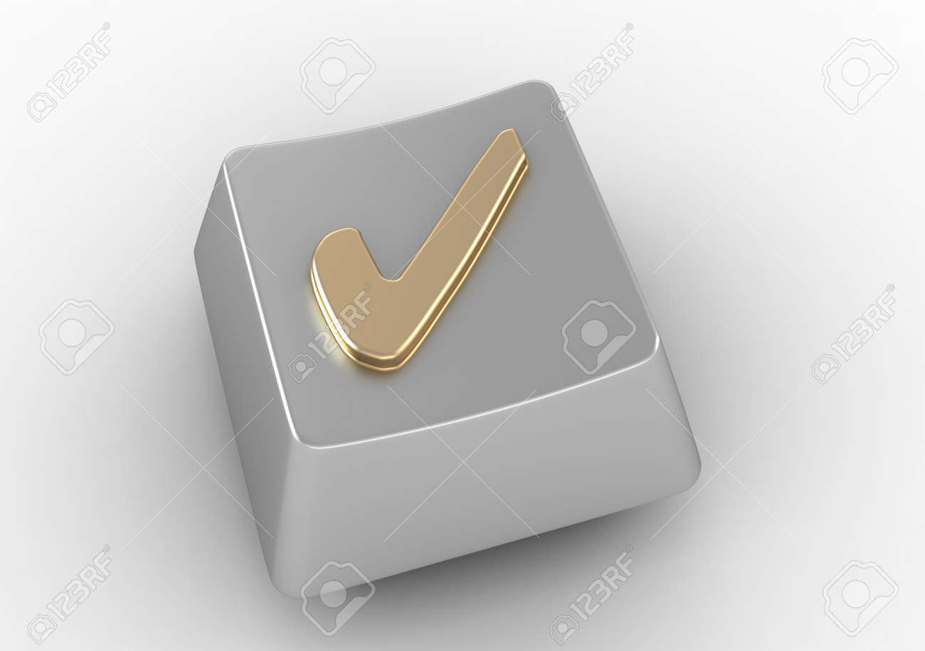 Keyboard Button With Gold Check Mark Sign Stock Photo Picture And