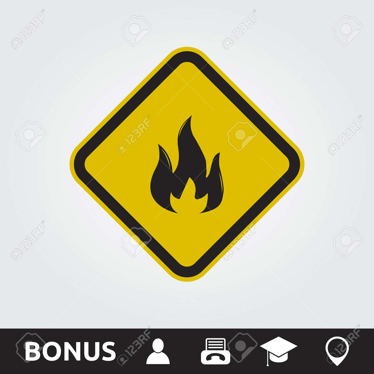 Fire Hazard Square Sign Royalty Free Cliparts Vectors And Stock