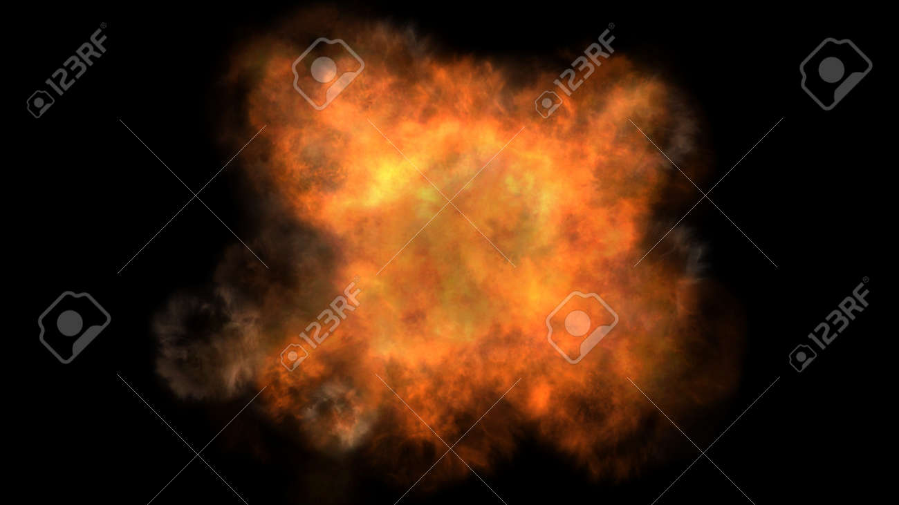 fire flame explosion in space, abstract illustration - 165626571