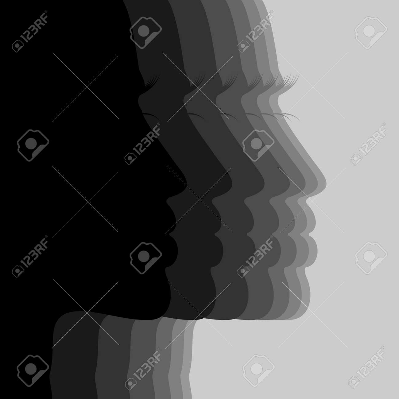 Silhouette the person of the girl A vector illustration - 12892397