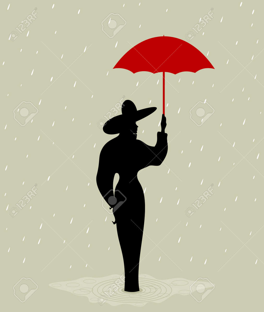 The girl with a red umbrella  A vector illustration Stock Vector - 12892394