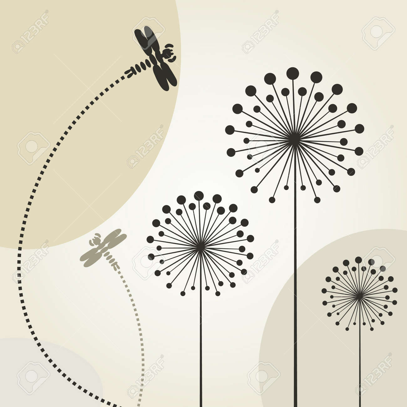 The dragonfly flies over a flower Stock Vector - 13711386