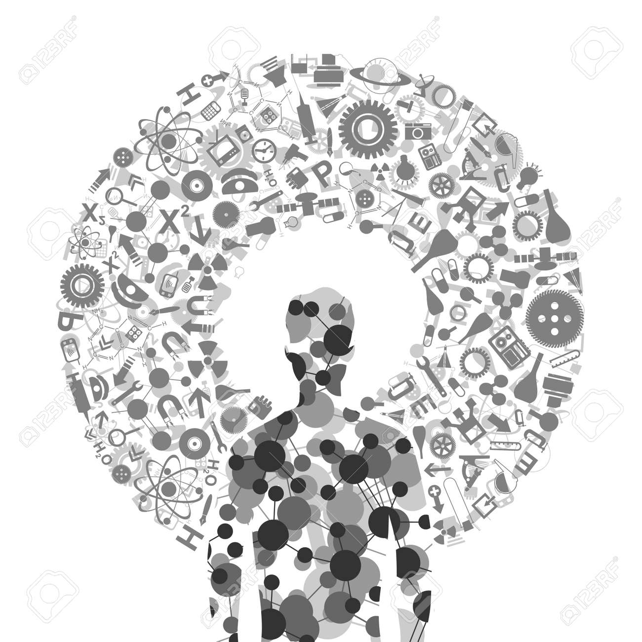 Scientific subjects round the person Stock Vector - 14004279