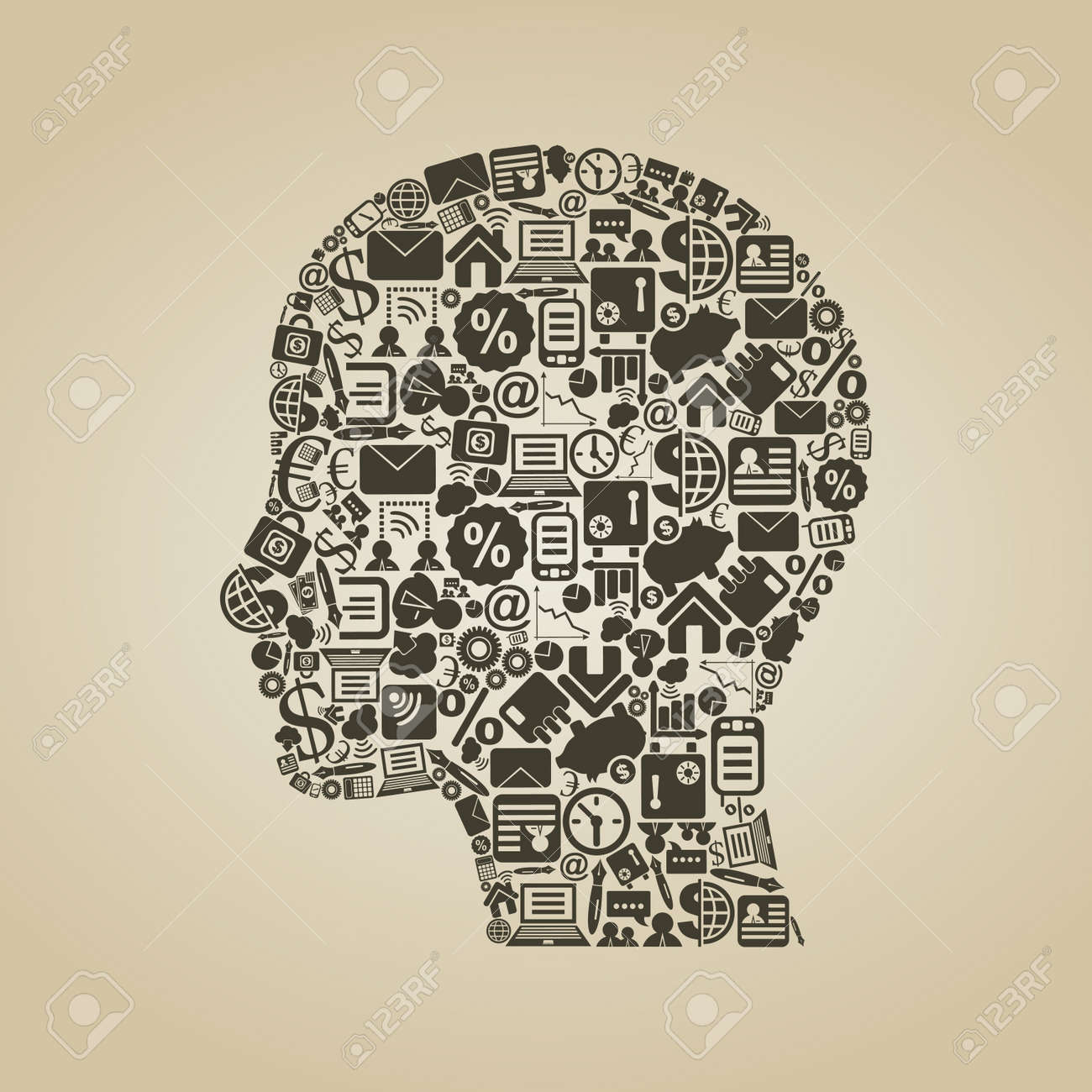 Head of the person from business of subjects  A vector illustration Stock Vector - 14471235