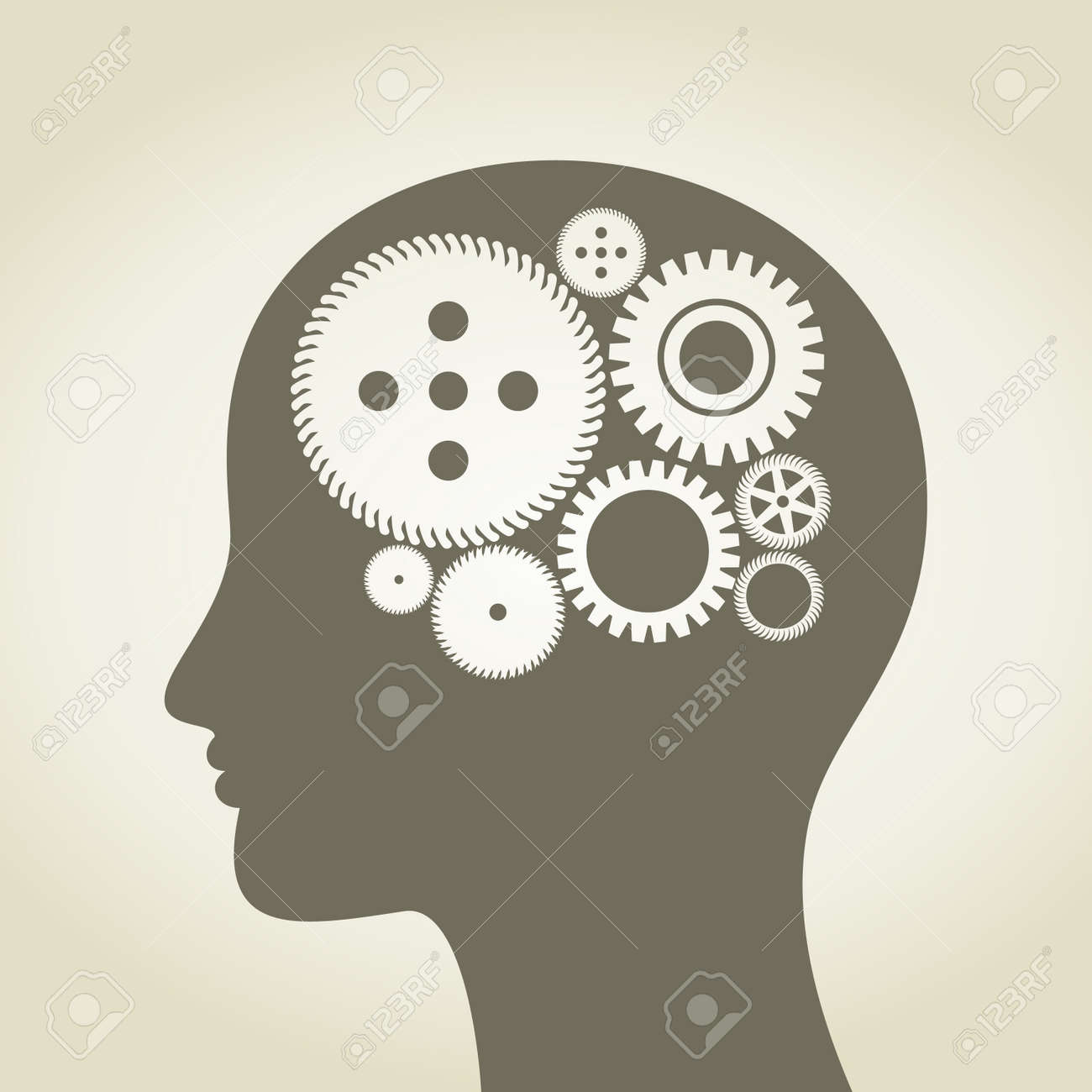 Gear wheel in a head of the person Stock Vector - 14764498