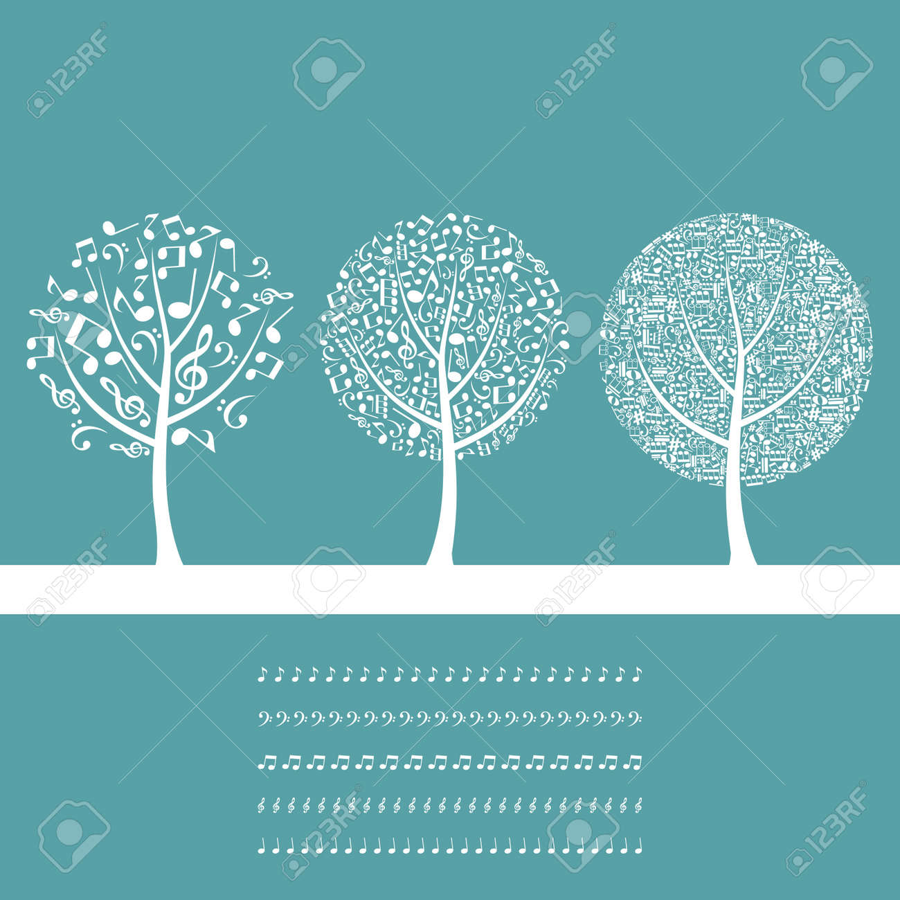 Three musical trees on a blue background Stock Vector - 14764556