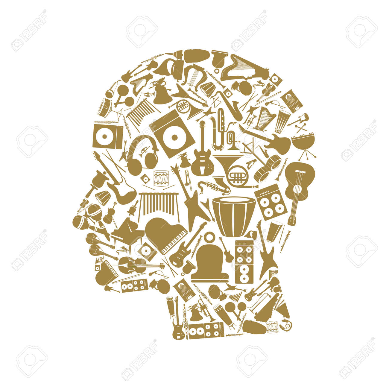 Head made of musical instruments Stock Vector - 15231669