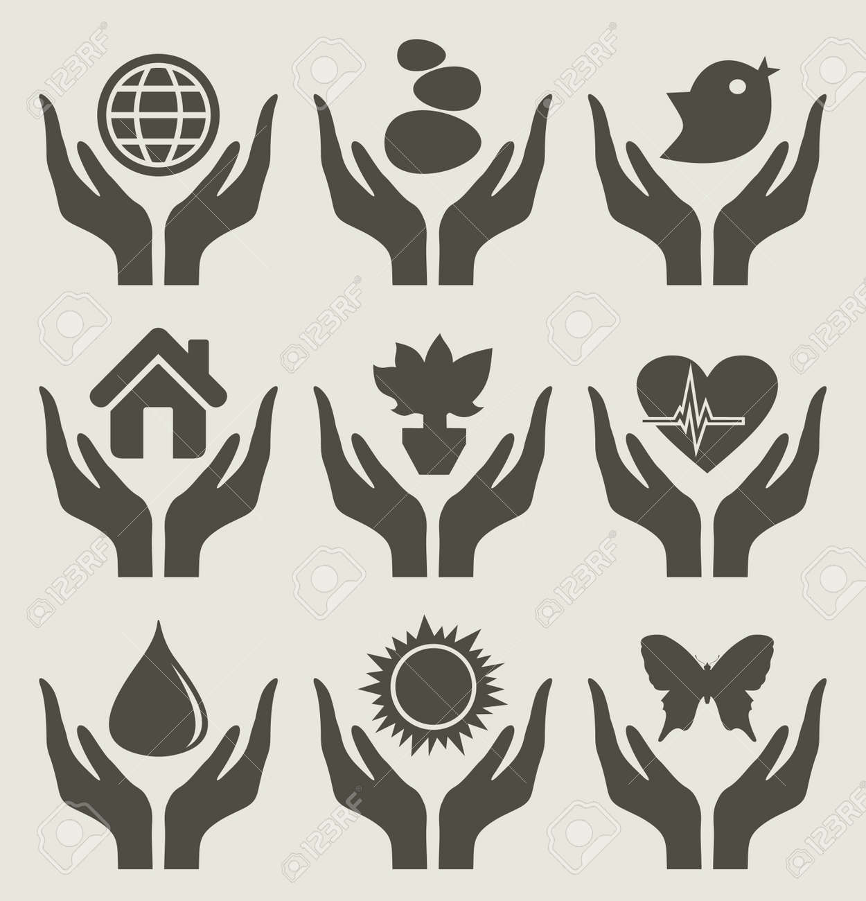 The female hand holds the nature Stock Vector - 15311032