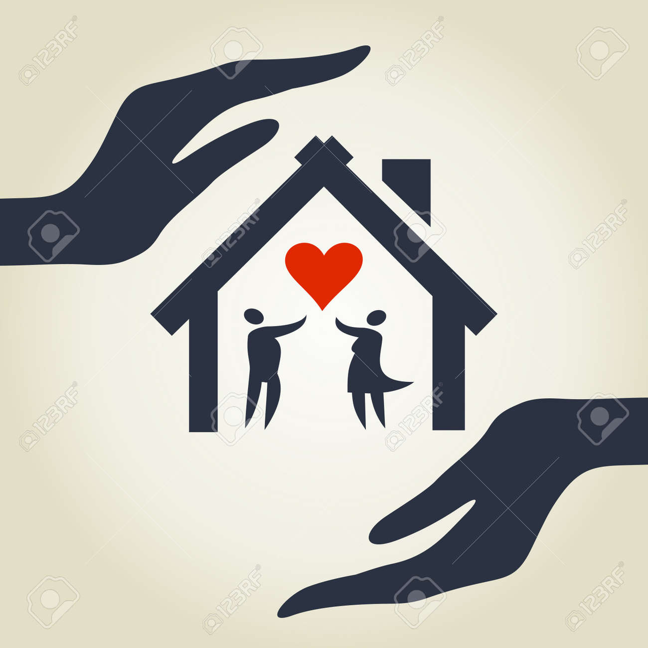 The house for love in hands  A illustration Stock Vector - 16132653