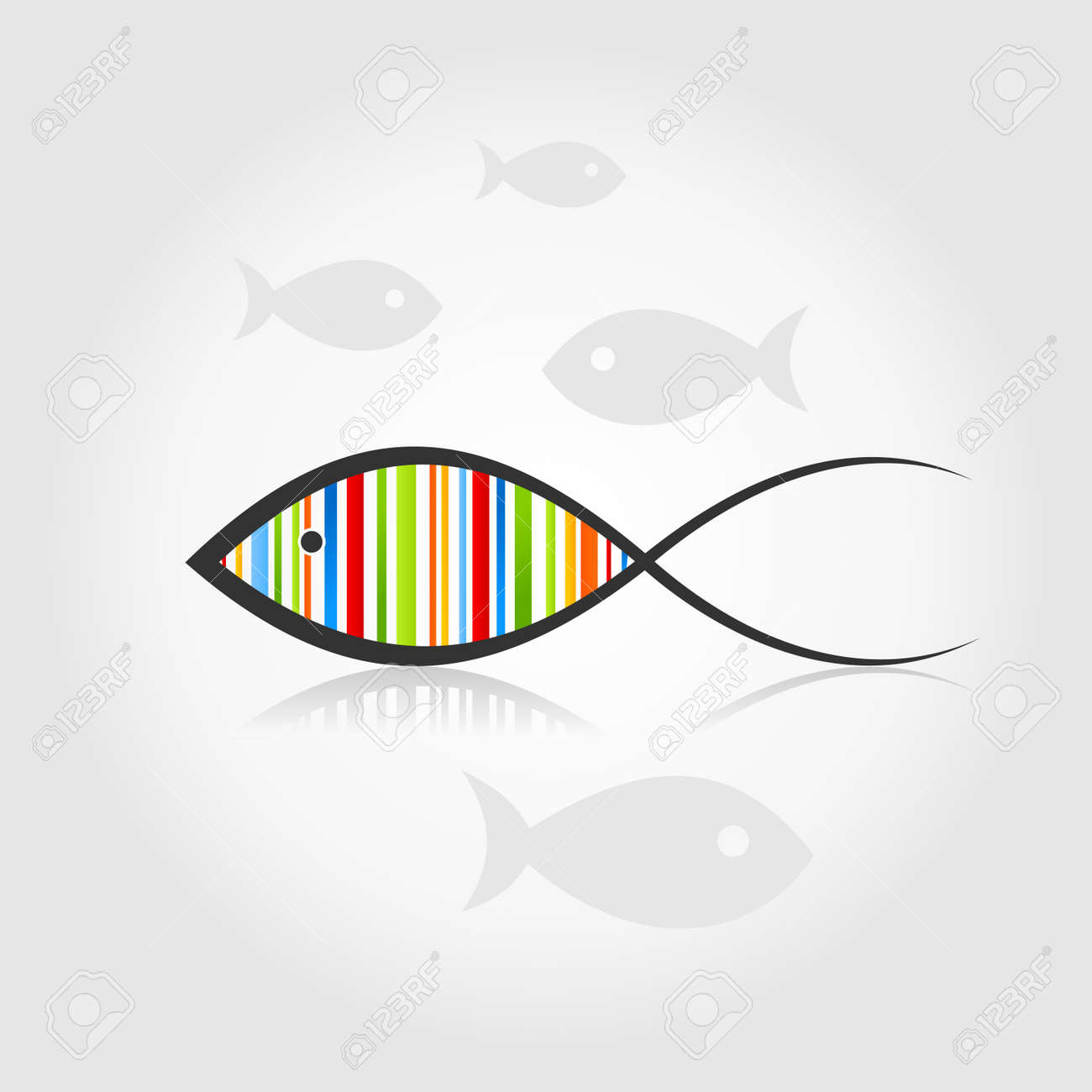 Fish a rainbow on a grey background   illustration Stock Vector - 16449802