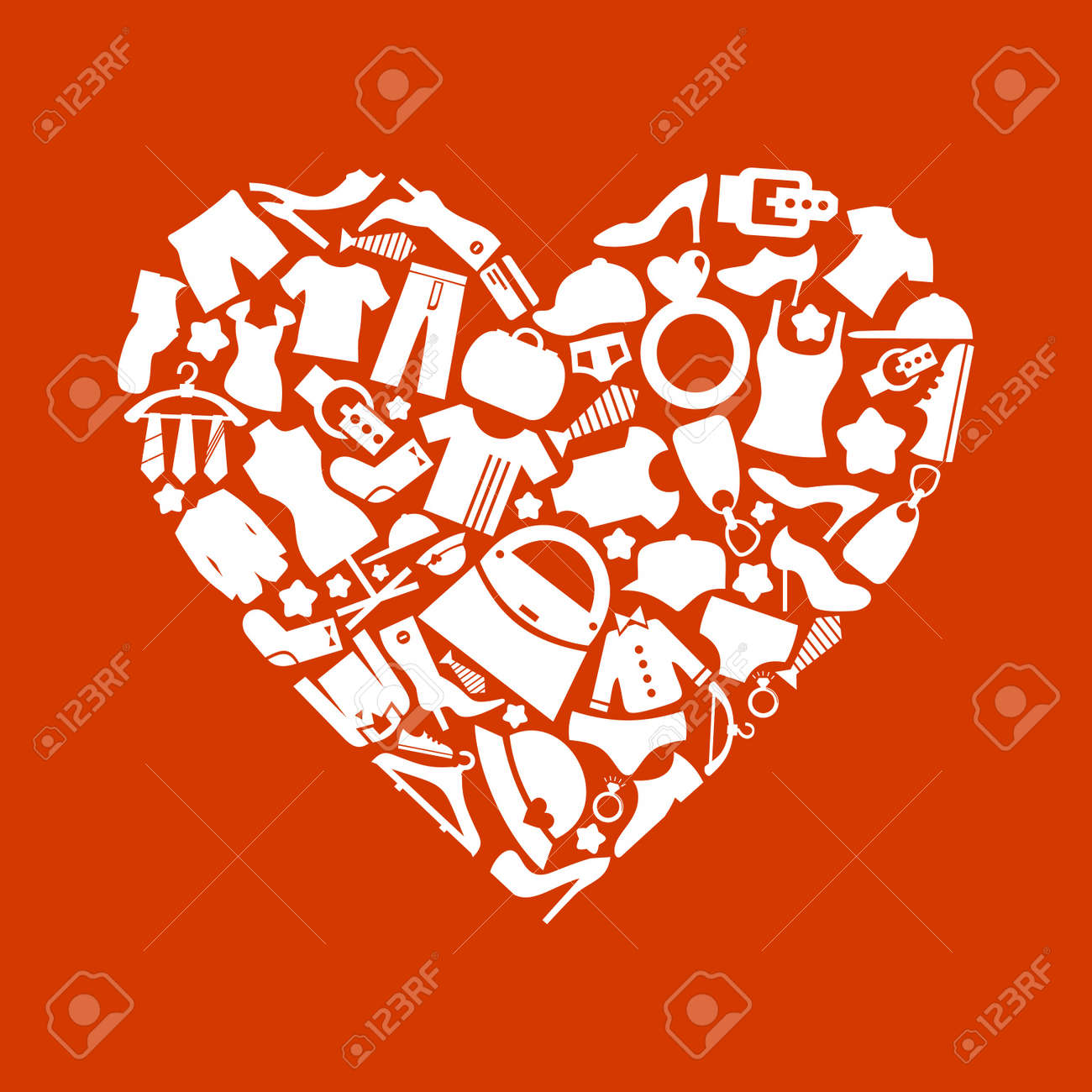 Heart made of clothes  A illustration Stock Vector - 16449793