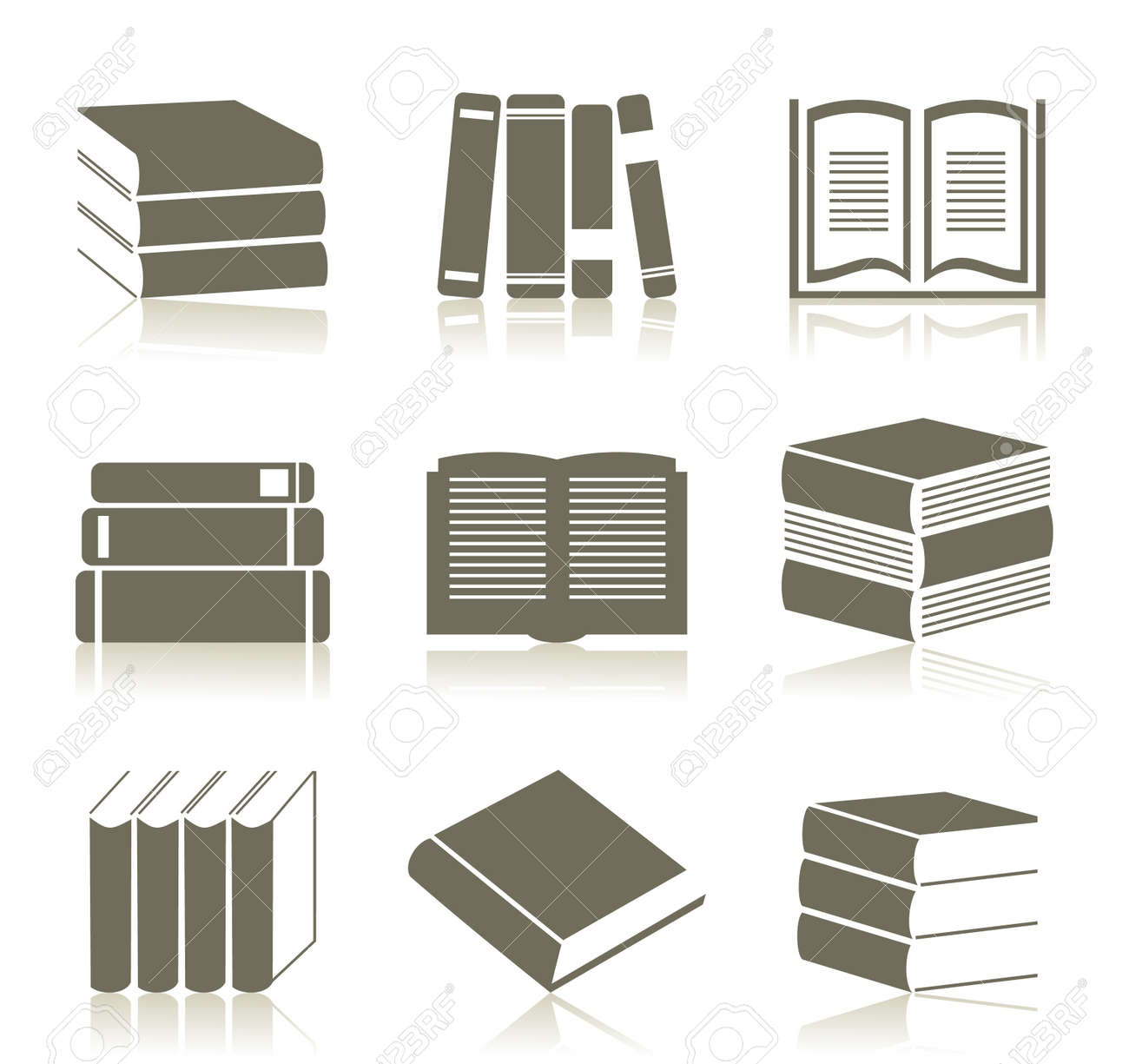 Set of icons of books   illustration Stock Vector - 16449838