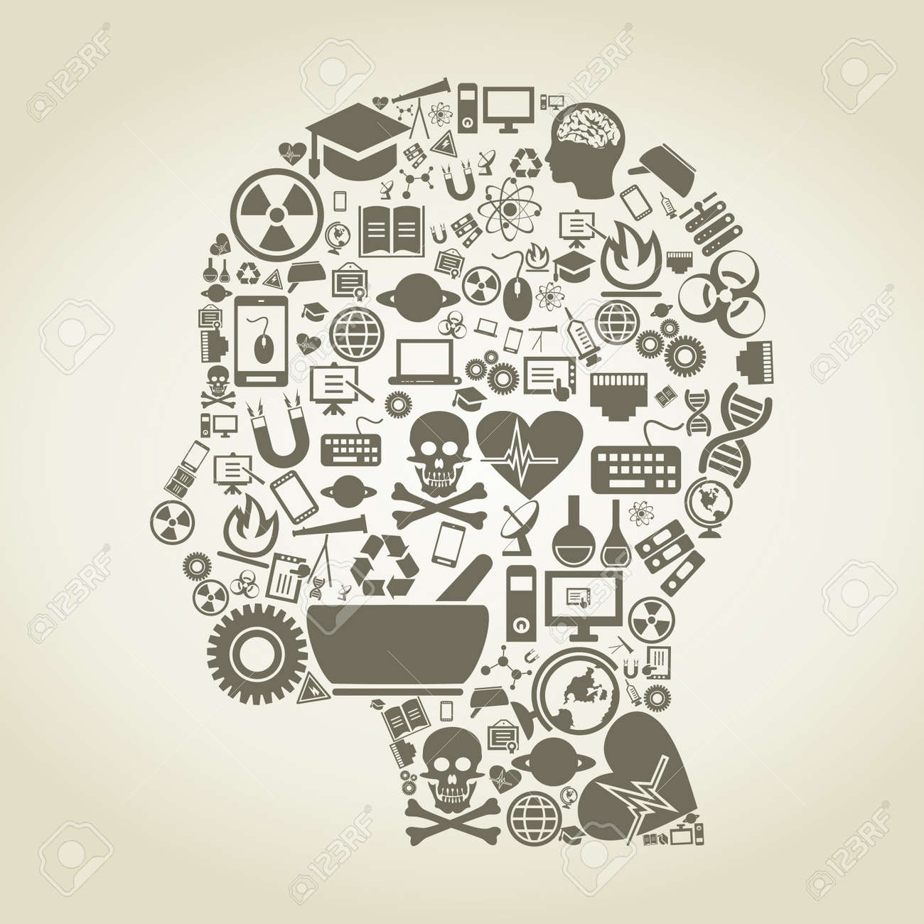 Head of the person made of a science  A vector illustration Stock Vector - 16596594