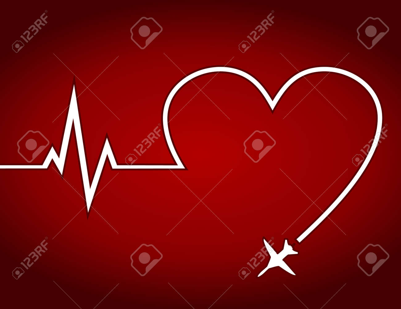Trace from the plane in the form of heart  A vector illustration Stock Vector - 16724697