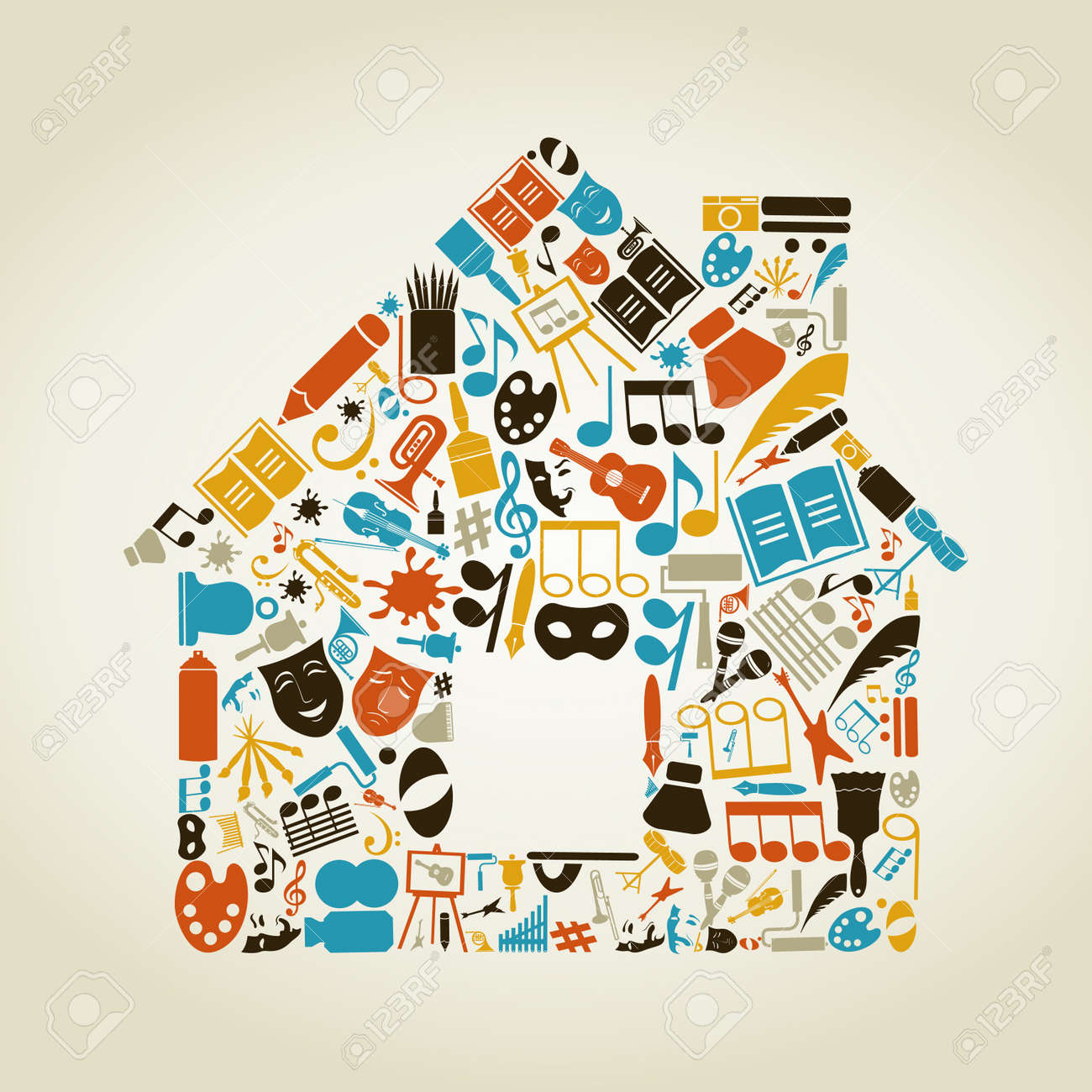 The house made of art. A vector illustration Stock Vector - 16985773