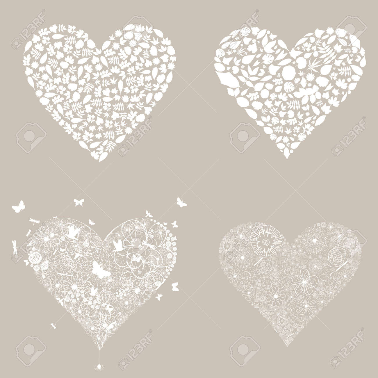 Set of white hearts Stock Vector - 17435188