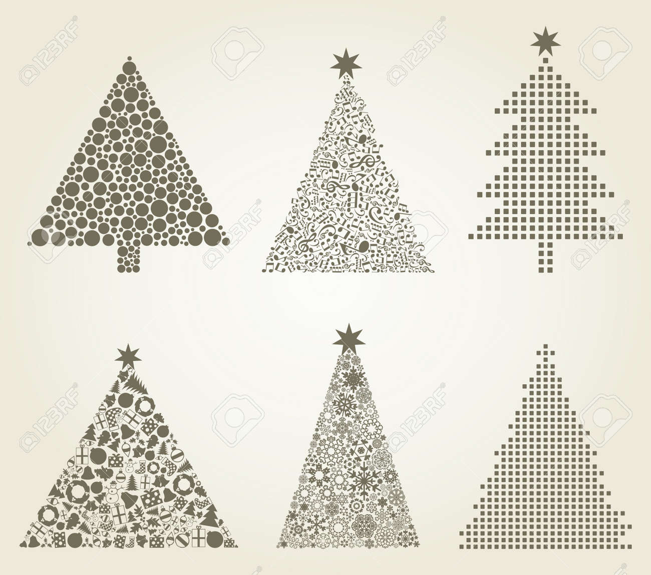 Collection of Christmas trees  A vector illustration Stock Vector - 18089229