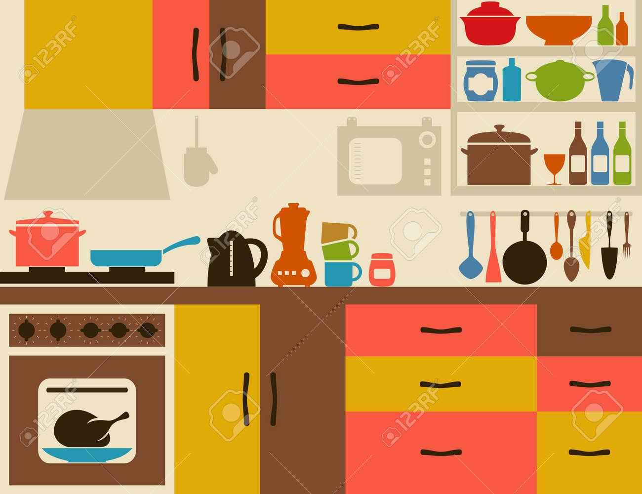 Vector ware on kitchen illustration
