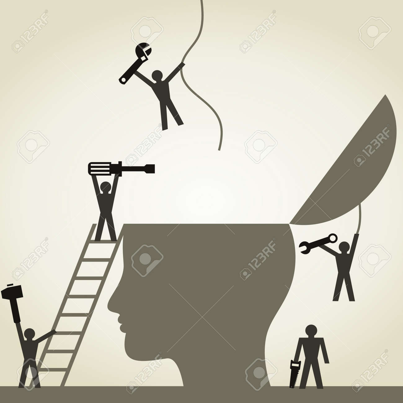 People repair a head. A vector illustration Stock Vector - 22007778