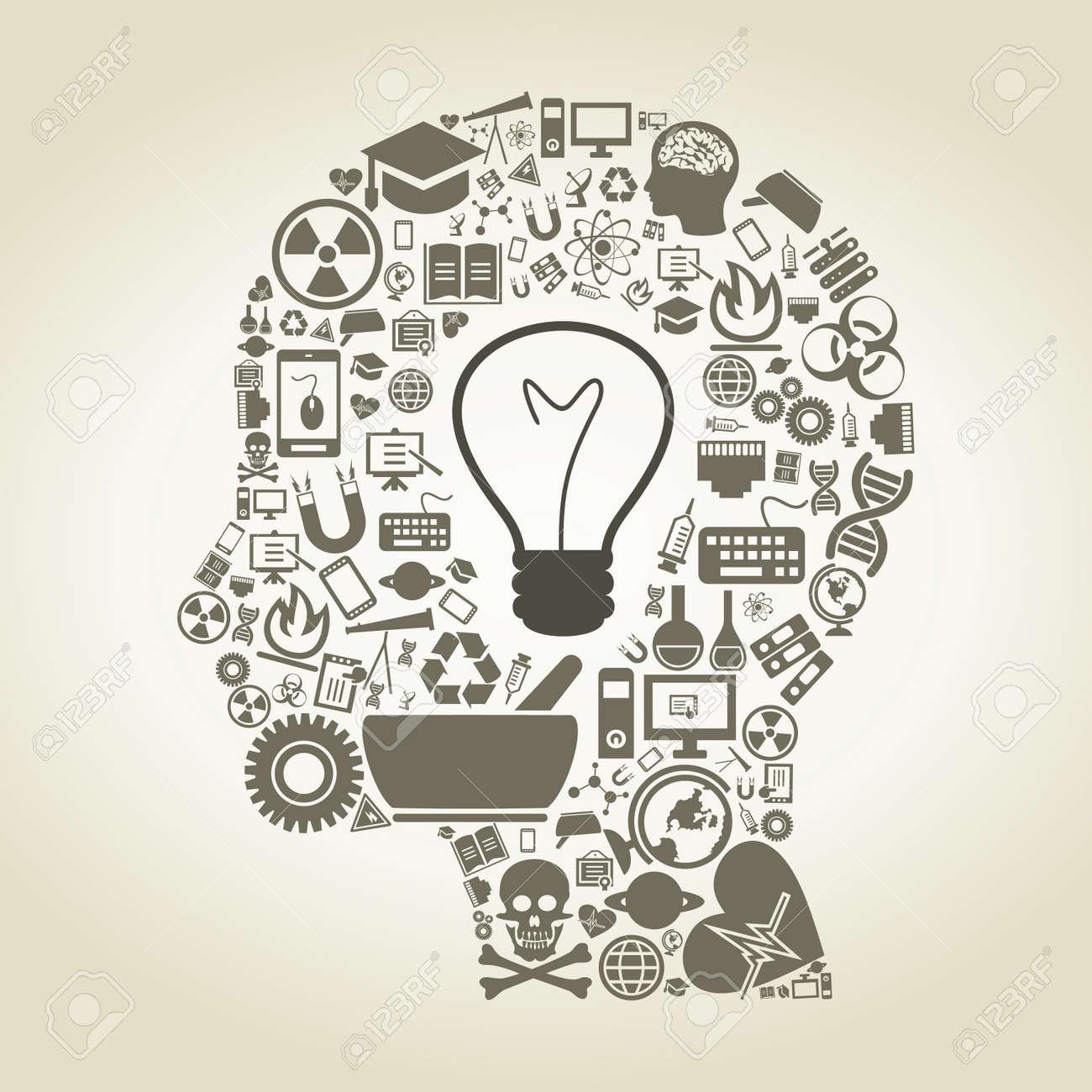科学イラストから成っている人の頭のイラスト素材ベクタ Image 22273577