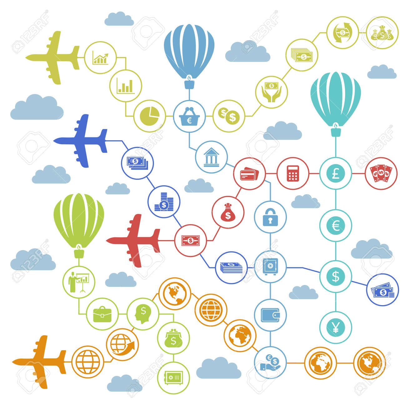 Planes carry business the sky. A vector illustration Stock Vector - 25697265