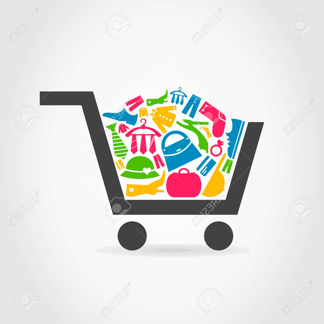 In a cart the clothes lay. A vector illustration Stock Vector - 25697268