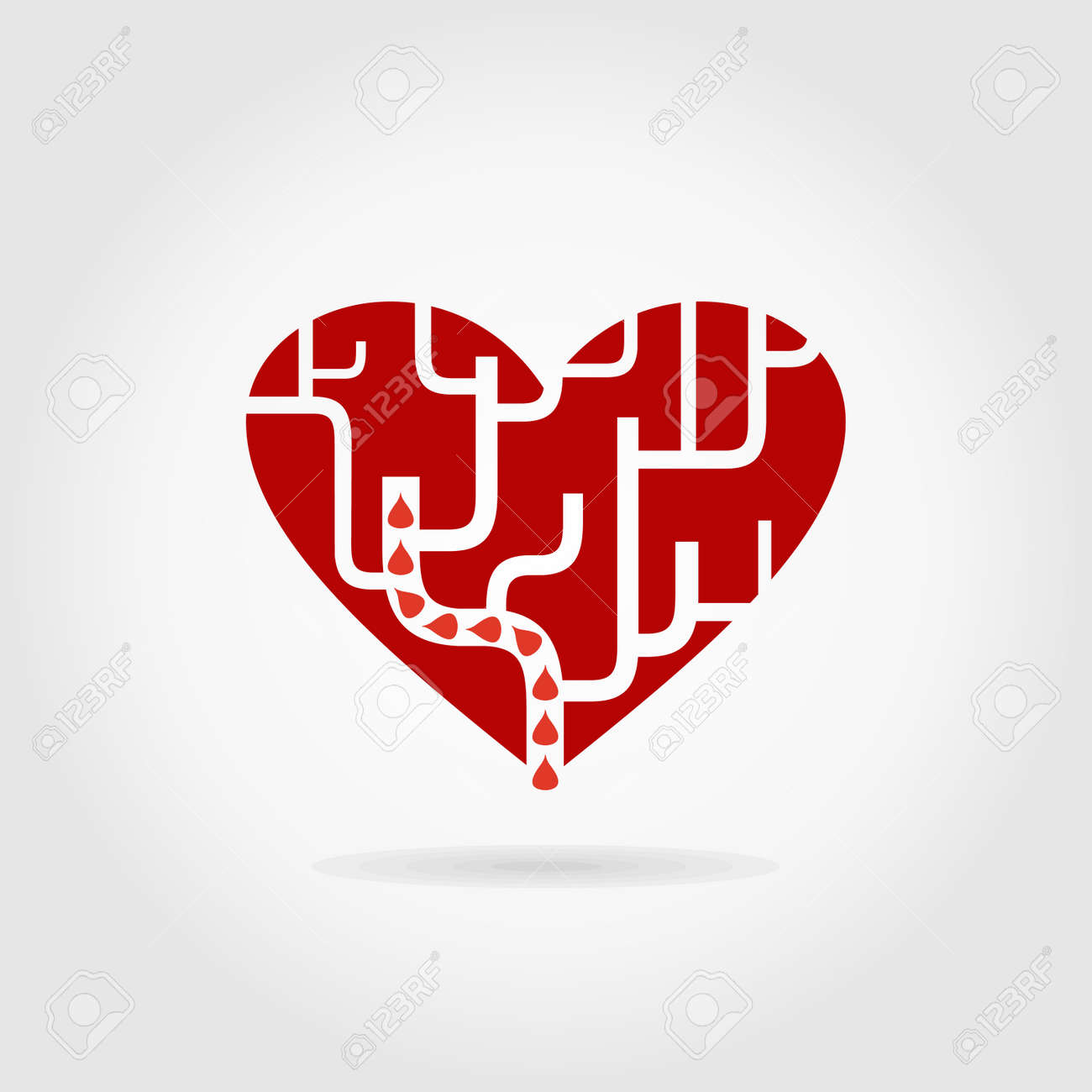 Red heart a labyrinth. A vector illustration - 25697296