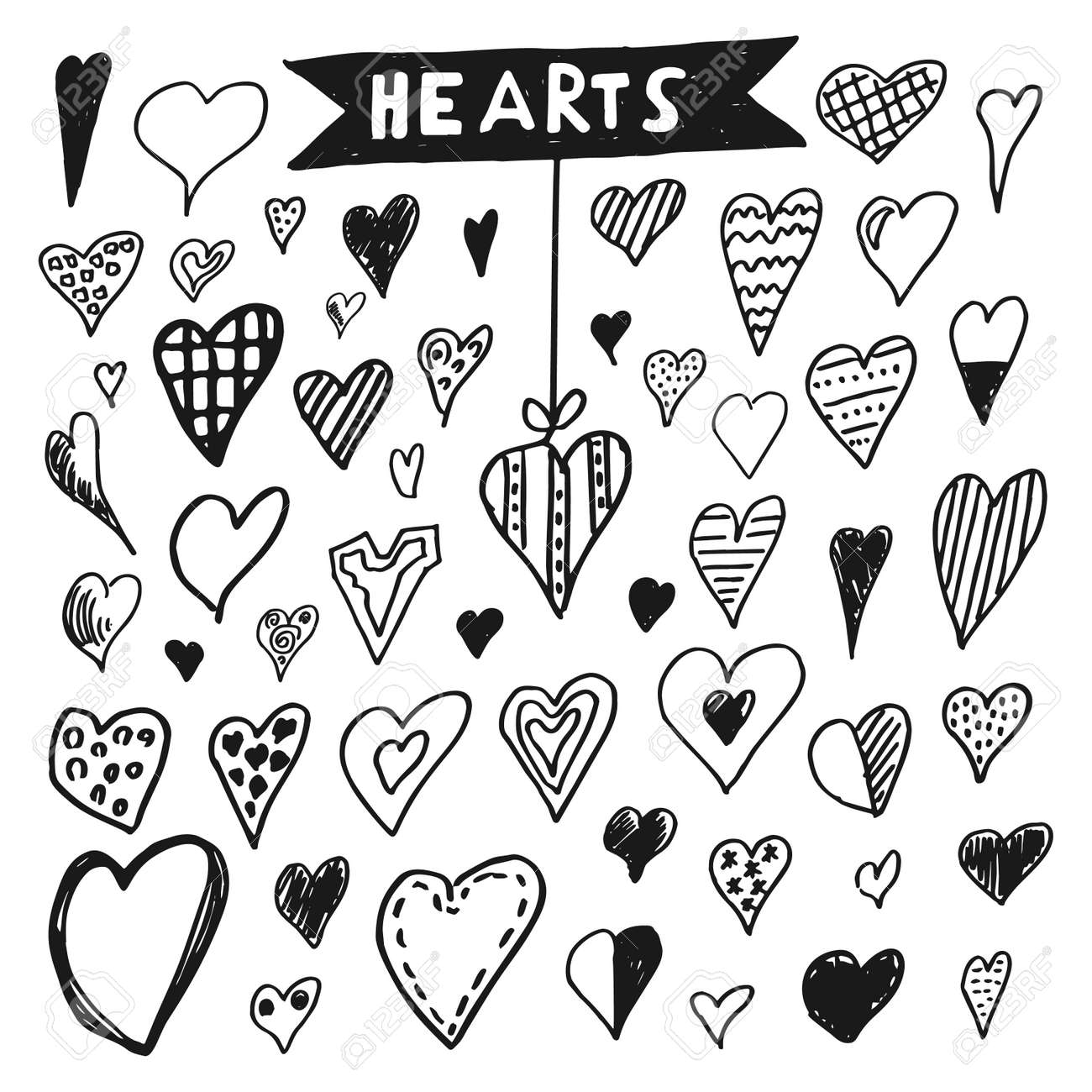 Icons set of hand draw style heart. Vector illustration - 69727108