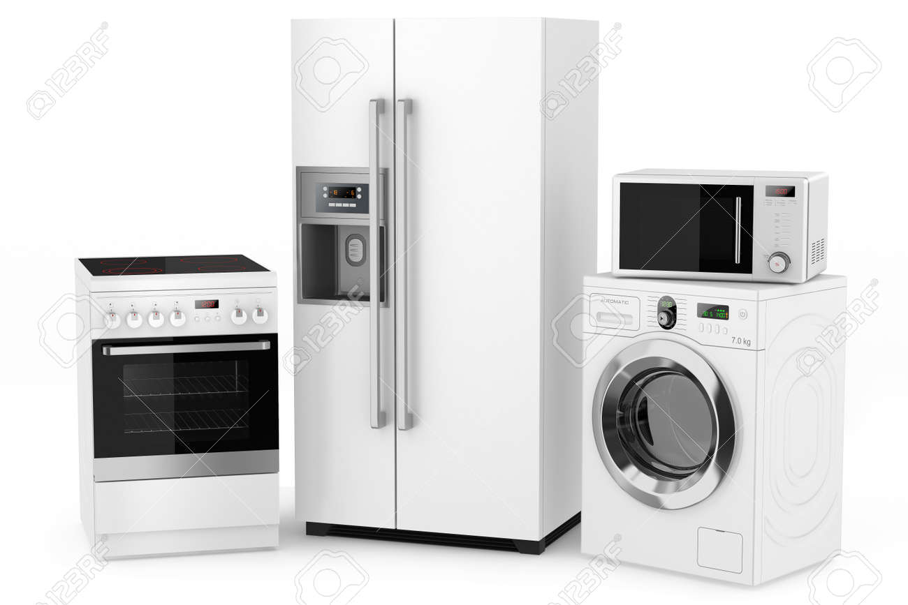 Kitchen small appliance circuit - Appliance Group Of Household Appliances On A White Background