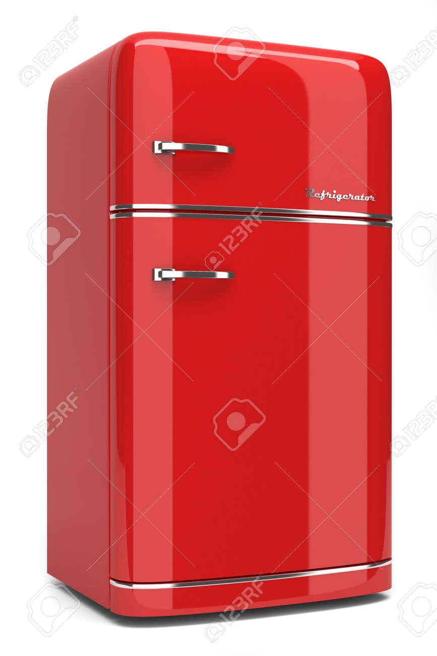 Retro Kühlschrank Isoliert Auf Weißem Hintergrund Lizenzfreie ...