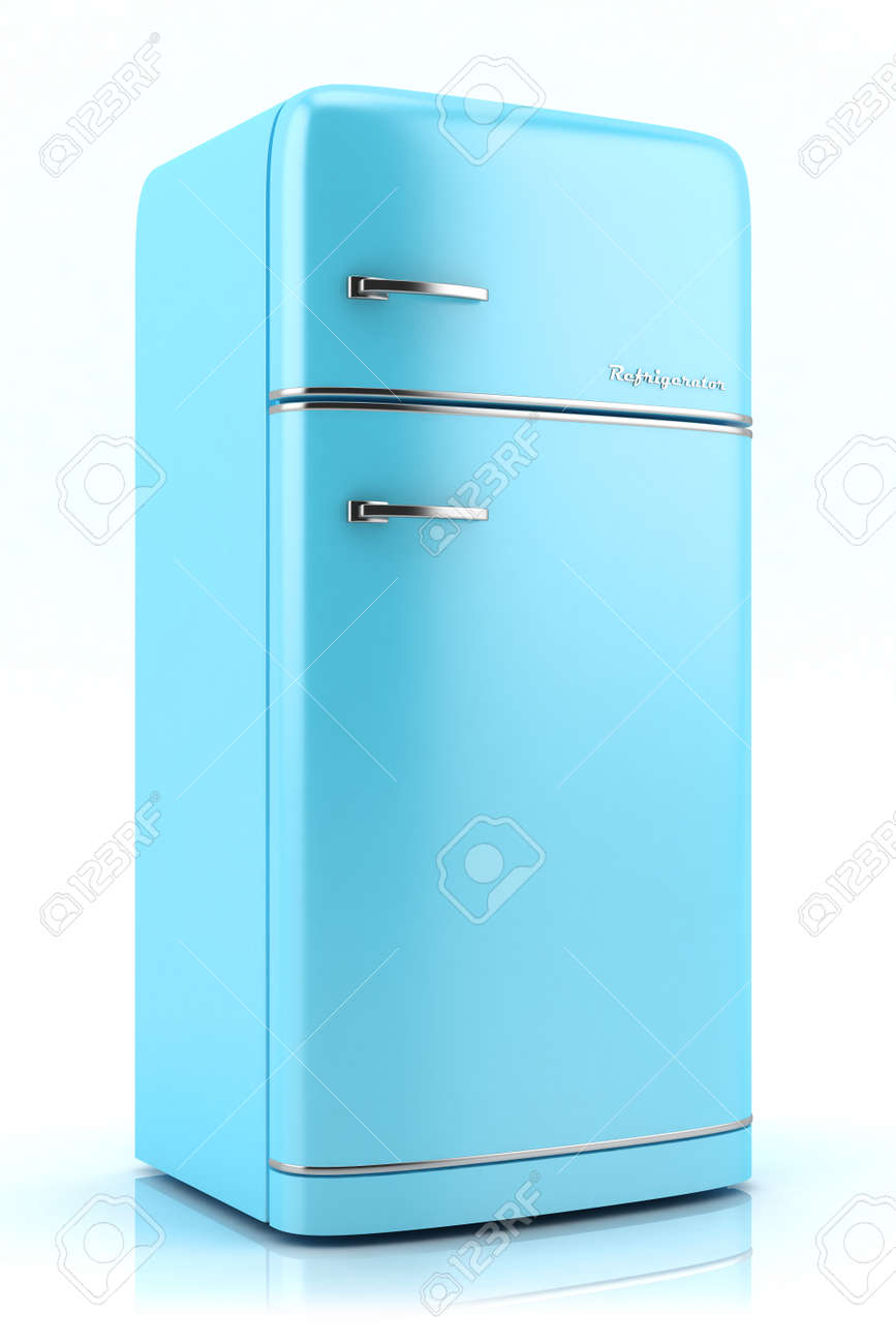 Blue Retro Refrigerator Isolated On White Background Stock Photo ...