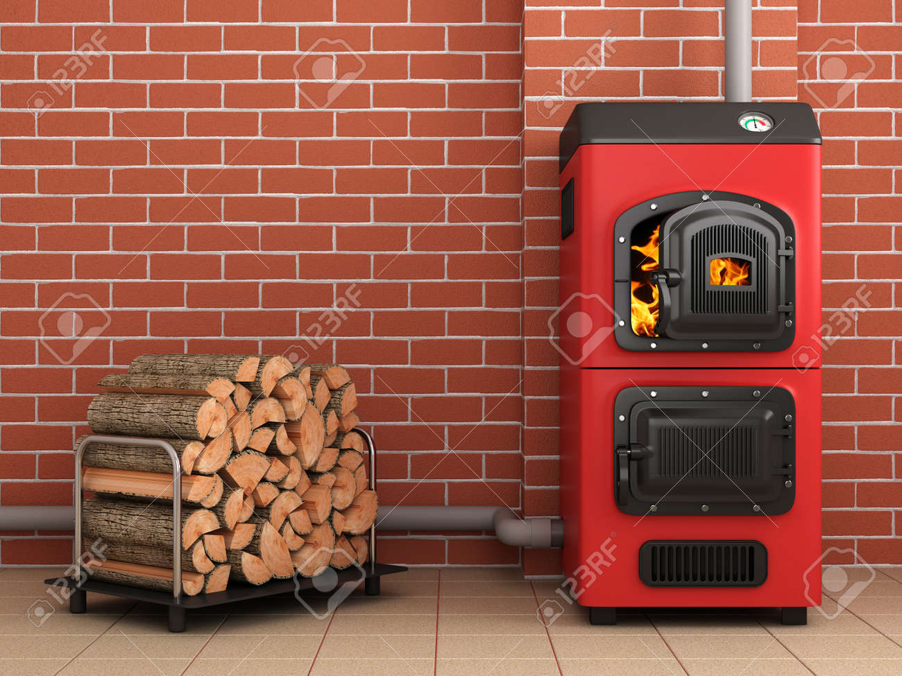 Solid Fuel Boiler.Boiler Room Concepte. 3D Image Stock Photo ...
