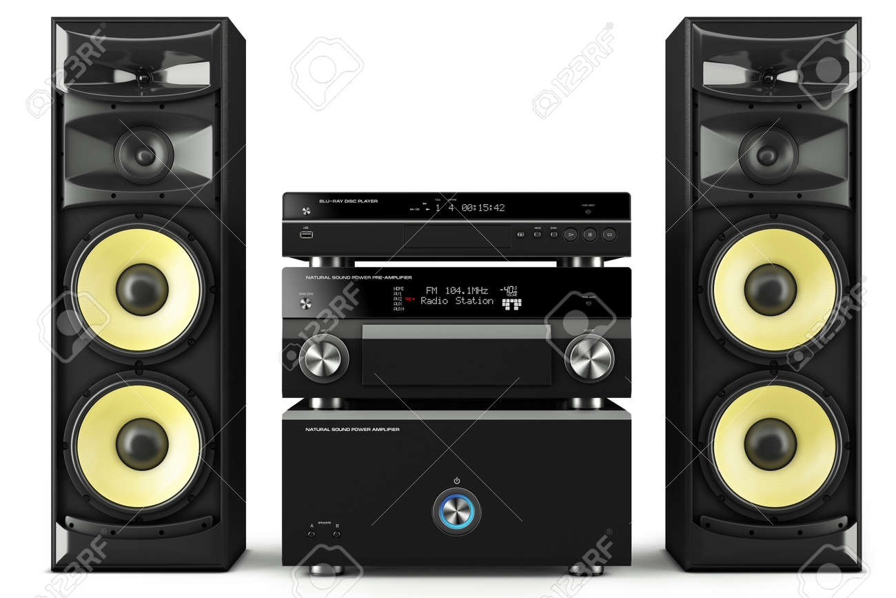 Hi Fi Stereo System Musical Player Power Receiver Yellow Speakers Stock Photo Picture And Royalty Free Image Image 42093845
